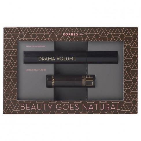 Korres Beauty Goes Natural set Drama Volume Mascara Black 11ml & Morello Creamy Lipstick 23 Natural Purple ΠΡΟΣΦΟΡΕΣ