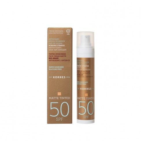 Korres Tinted Sunscreen Face Cream Matte Red Grape Antispot SPF50 50ml ΕΠΟΧΙΑΚΑ